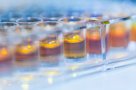 Plate for chemical analysis such as antioxidant tests with different concentrations photo
