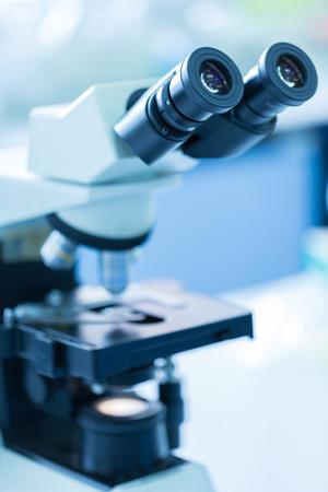 eyepiece: Closeup of the eyepiece of a modern hi-tech microscope Stock Photo