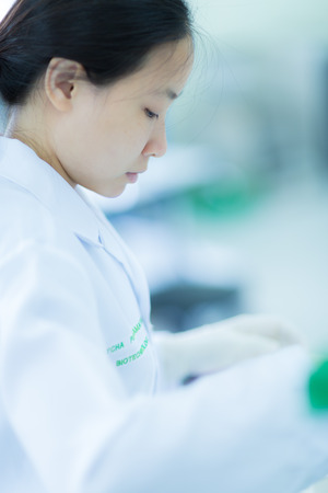labratory: Students working in the Lab Experiment Stock Photo