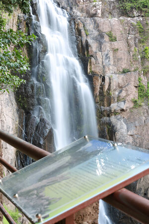 huge waterfall in the middle of jungle photo