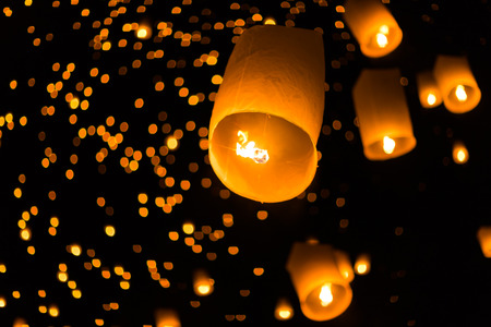 Yee Peng festival at Sansai district, Chiang Mai, Thailand. Stock Photo