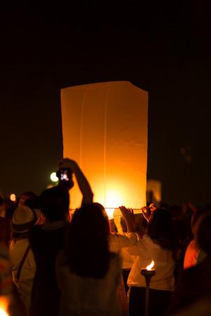 Yee Peng festival at Sansai district, Chiang Mai, Thailand. photo
