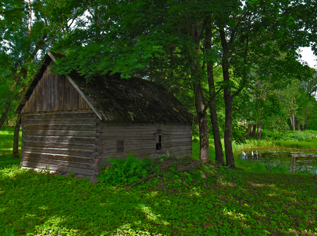 bathhouse: Old bath-house in a park on the shore of the pond