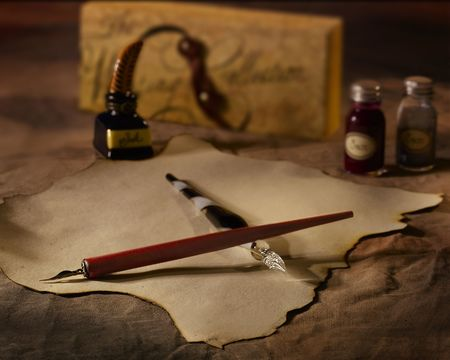 A vintage calligraphy set with a fountain pen Stock Photo
