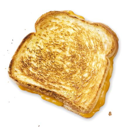 An appetizing grilled cheese hot out of the skillet