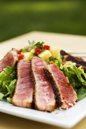 Seared tuna on bed of lettuce