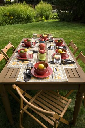 entertaining: Table set for a dinner party