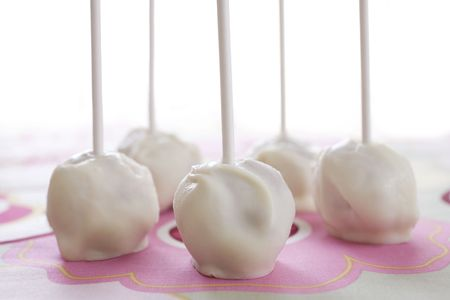 Cake balls on floral fabric