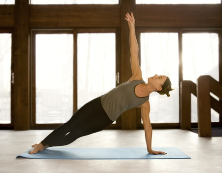 pilates: Femme faire yoga