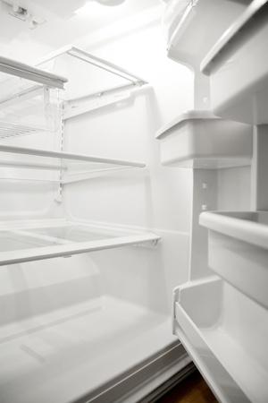 fridge: empty fridge Stock Photo