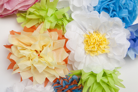 tissue paper: Wall of Tissue Paper Flowers