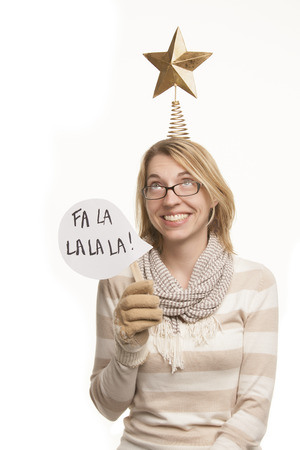 christmas stars: Woman with Christmas Props Stock Photo