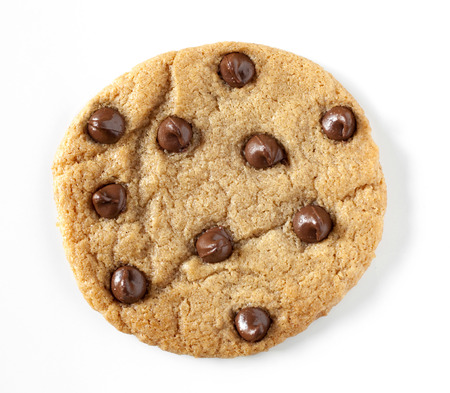10 chocolate chips on a cookie Stock Photo