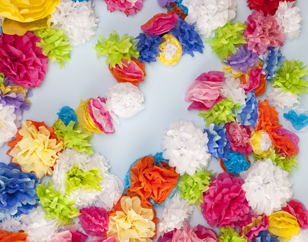 floral decoration: Wall of tissue paper flowers