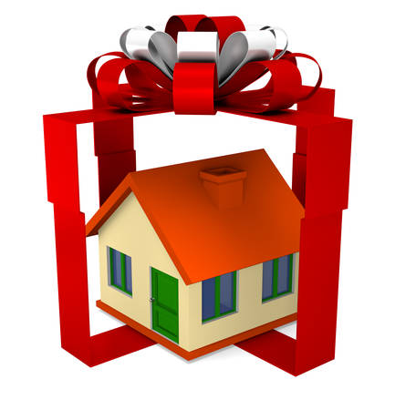 red gift box: House in to red gift box illustration on white background Stock Photo