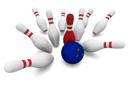 Concept bowling 3d on white background illustration illustration