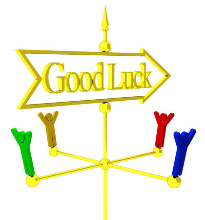 succes: The gold wethercock success illustration on white background isolated