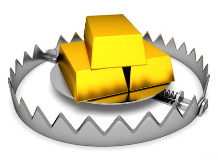 trap: Trap with gold on white Stock Photo