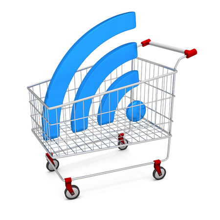 service provider: Abstract image symbol wifi in the shopping cart. Illustration. 3D