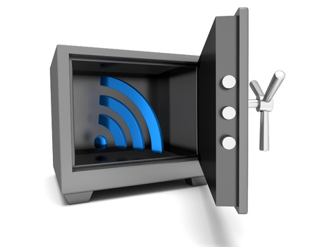 service provider: Abstract image symbol wifi in the safe. Illustration. 3D Stock Photo