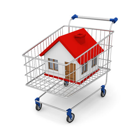 Render house in the shopping cart on white background. Illustration created in 3D illustration