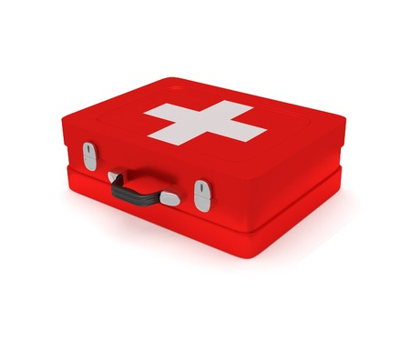 medical preparation: First aid kit on a white background. 3D render