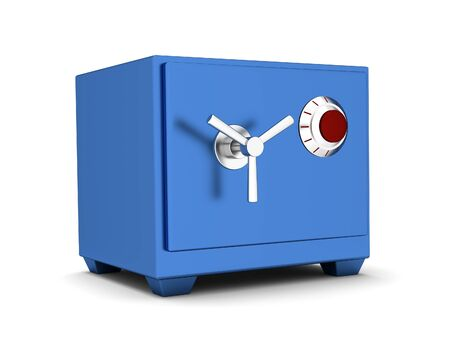 deposit slips: Safety Deposit Box blue color on a white background. 3d render