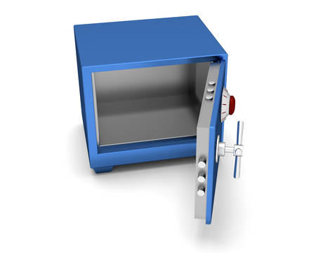 three dimensional accessibility: Safety Deposit Box blue color on a white background. 3d render