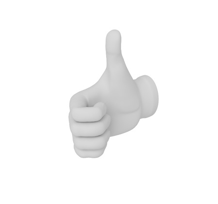 deterioration: 3d white human hand. Thumb up or down. White background.
