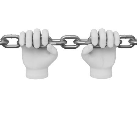 bondage: 3d white human hand grasps the chain 3d. White background.