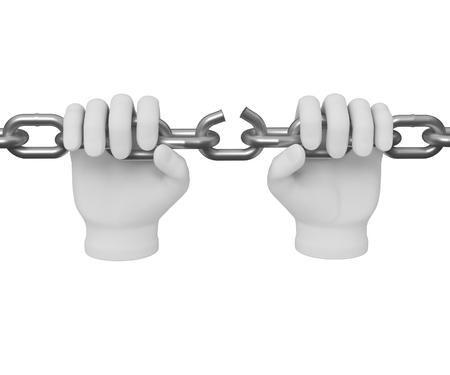 breaks: 3d white human hand breaks the chain 3d. White background. Stock Photo