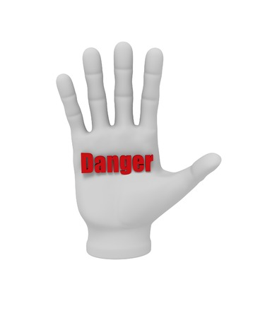 3d white human hand holding the word danger 3d. White background. photo