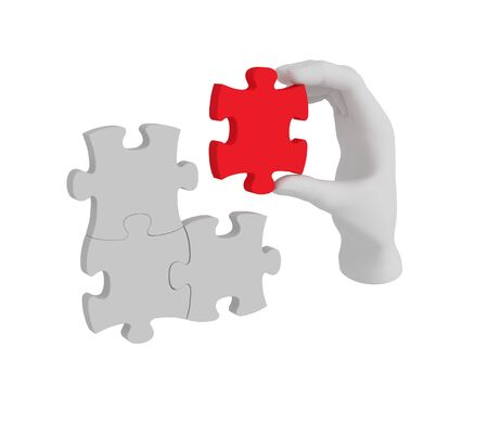 reconciliation: 3d white human hand connecting puzzle 3d. White background.