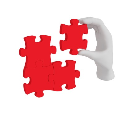 contrasts: 3d white human hand connecting puzzle 3d. White background.