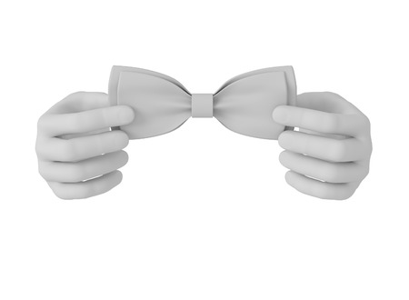 hands tied: 3d white human hand straightens bow tie . White background.
