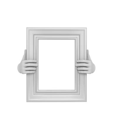 steward: Two hands holding a white rectangular picture frame. 3d. Isolated.