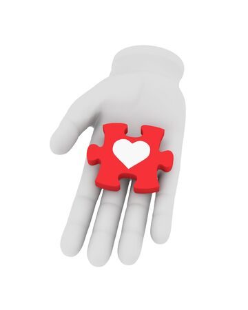 reconciliation: 3d white human hand holds red puzzle with symbol. 3D illustration . White background. Stock Photo