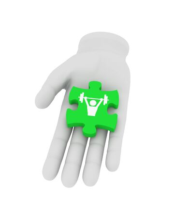 reconciliation: 3d white human hand holds green puzzle with symbol. 3D illustration . White background.