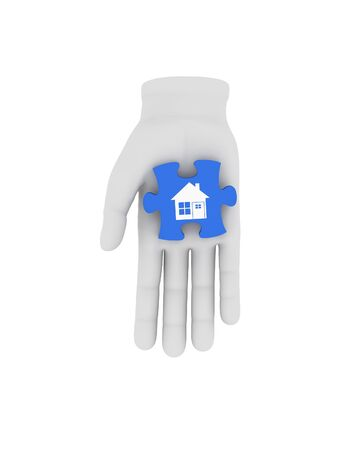 housing problems: 3d white human hand holds blue puzzle with symbol. 3D illustration . White background.
