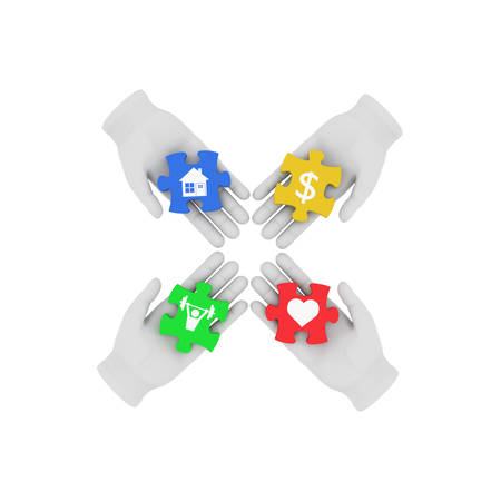 reconciliation: 3d white human hand connecting colored puzzles with symbols. 3D illustration . White background.