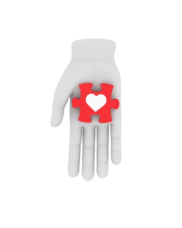 housing problems: 3d white human hand holds red puzzle with symbol. 3D illustration . White background. Stock Photo