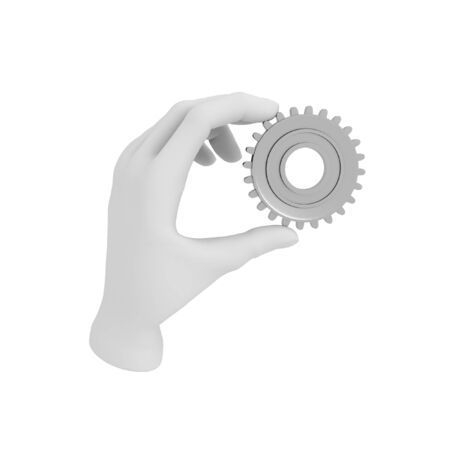 gear cog: 3d white human hand holds gear (cog). 3D illustration . White background.