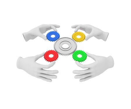 gear cog: 3d white human hand holds colored gear (cog). 3D illustration . White background.
