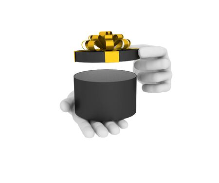 3d white human hand holds open black gift box. 3D illustration . White background. illustration