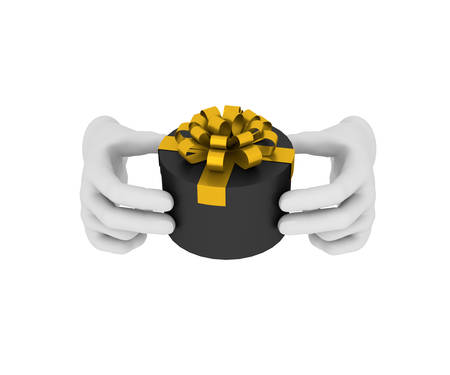 3d white human hand holds black gift box. 3D illustration . White background. illustration