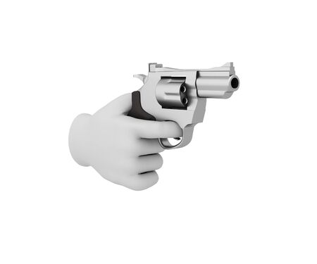 organized crime: Hand in a white glove holding a revolver. 3d render. White background. Stock Photo