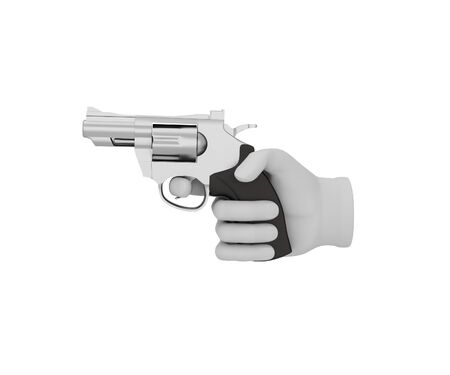 revolver: Hand in a white glove holding a revolver. 3d render. White background. Stock Photo