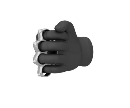 knuckle: Hand in a black glove holding a knuckles. 3d render. White background.