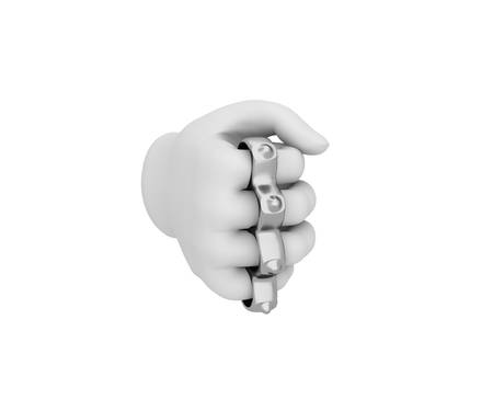 knuckles: Hand in a white glove holding a knuckles. 3d render. White background. Stock Photo