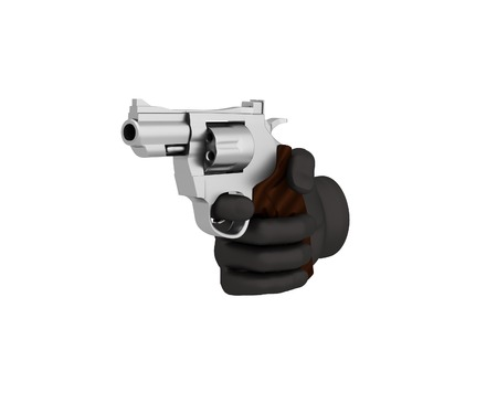 organized crime: Hand in a black glove holding a revolver. 3d render. White background. Stock Photo